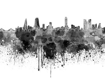 Manama skyline in watercolor on white, 8 monochrome colors, and full color 8x10 in. to 12x16 in. Poster Wall art Print Art - SKU 0770