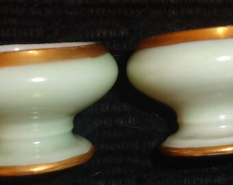 "Soft green gilt edged pearlized inside Bavarian Vntg Salts. footed 1.25""H x 1.5""W x .5""D. Sweet pair"