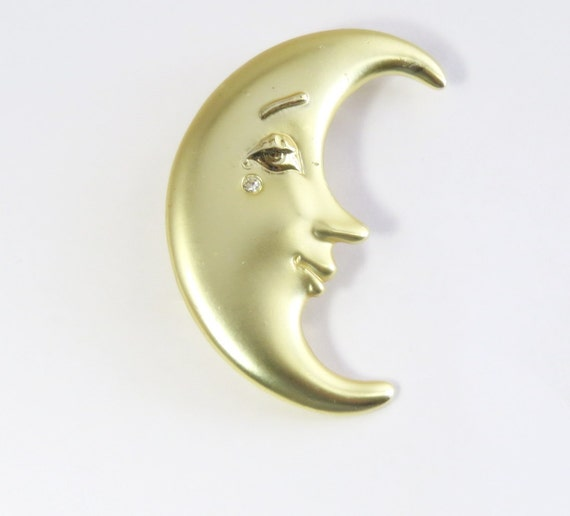 Half Crescent Moon With Face Tattoo: Items Similar To Vintage Crescent Moon Face AJC Signed Pin