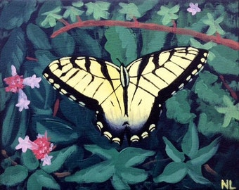 Yellow Butterfly Original Painting, 10x8 Acrylic Canvas, Eastern Tiger Swallowtail Nature Art, Small Wall Decor