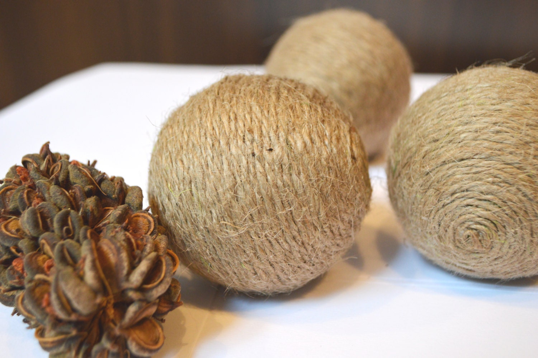 Rustic decorative balls vase filler natural brown