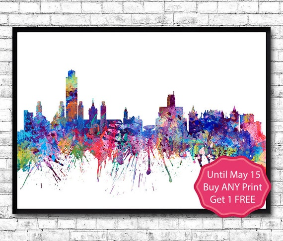 Albany New York Watercolor Print City Skyline Los By Artsprint
