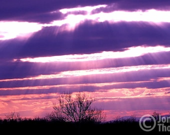 Dramatic Sunset Near Shenandoah Mountains, Purple Fine Art, Purple Decor, Sunset, Shenandoah Mountains, Sunset Photograph, Storm Brewing
