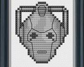 Cyberman Cross Stitch Pattern (Small) Digital PDF - Instant Download