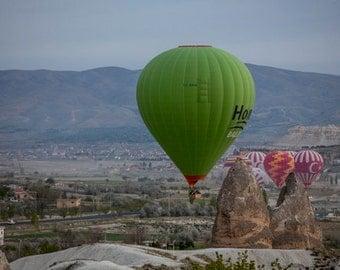 HOT AIR BALOON , Cappadocia, Travel Photography, Turkey, Instant Download, wall art