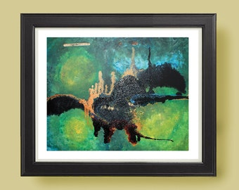 SUBTERRANEAN Abstract modern art print from original mixed media
