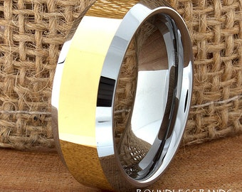 Gold Tungsten Wedding Band 8mm High Polished Beveled Edges Two Tone Mens Women's Customized Tungsten Wedding Ring His Hers Anniversary Band