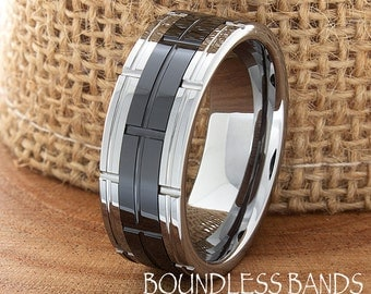 Two Tone Tungsten Band Flat Brick Pattern Custom Laser Engraved Anniversary Ring Modern Wedding Bands Ring For Him Mens Wedding Ring 8mm New