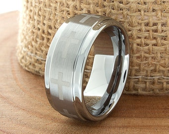 Tungsten Cross Wedding Band Stepped Edges Tungsten Band Brushed Personalized Laser Engraving Christian Wedding Ring For Him 9mm Promise Ring