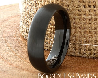 Wedding Band Tungsten Ring Customized Any Design Laser Engraved Ring Mens Tungsten Ring Black Dome New Modern Classic Mens Band 6mm Brushed