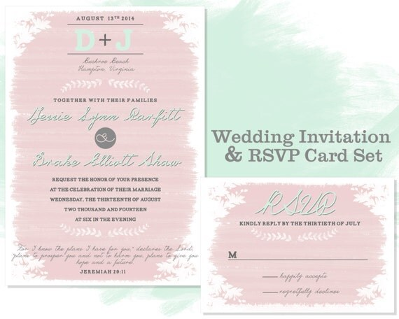 whimsical wedding invitation rsvp card set personalized