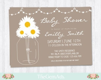 Rustic Baby Shower Invitation Daisy Mason Jar,DIY Printable Baby Shower Invitation