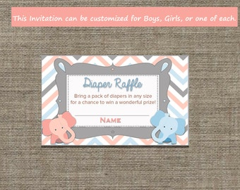 Twin Baby Shower Diaper Raffle.  Boys, Girls or Both. Custom wording, colors,images...