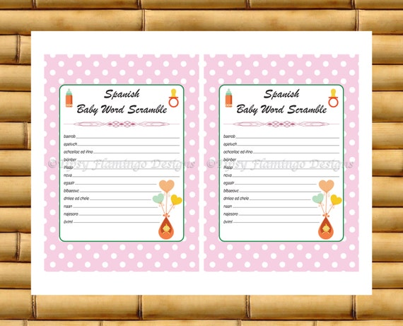 printable baby shower games in spanish