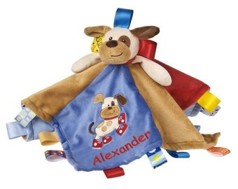 Personalized Taggies Buddy Dog Character Blanket - 13.5 Inch - Red Embroidery