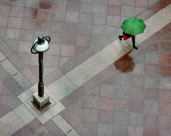 Green Umbrella - Street Photography, Composition, Wall Art Decor, Urban Photography, Decisive Moment, Complementary Colors, Photo,From above