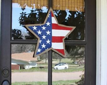 Patriotic Star Burlap Door Hanger American Flag Chevron Door