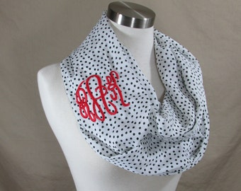 Infinity Scarf in White and Black Polka Dot Handmade Lightweight Scarf Spring Scarf Summer Scarves