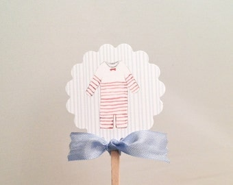 Baby Shower Cupcake Toppers- baby Boy Theme Shower Toppers Food Picks-Set of 12