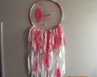 Bohemian Handmade Hot pink Dream catcher, Beads, feathers, dreamcatcher