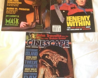 Cinescape Magazine Lot of 3 Sci Fi Magazines, Premiere Issue and Vol 2, #1, #3