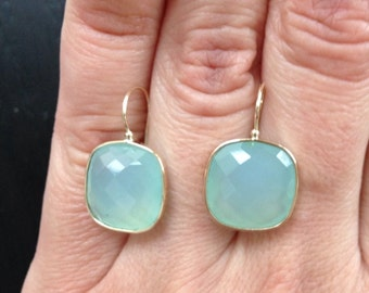14k solid gold and aqua chalcedony large earrings