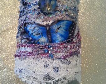 Fabric cuff bracelet ,Textile cuff, Fiber cuff blue, Fabric Art cuff