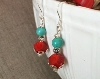 Silver Earrings, Turquoise Earrings, Dangle earrings, Red Bead Earrings, Turquoise Bead Earrings, Ruby Earrings, Sterling Silver, Jewelry