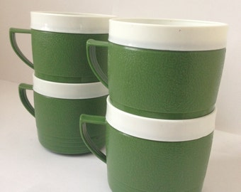 Set of 4 Vintage Sunfrost Therm-O-Ware Mugs