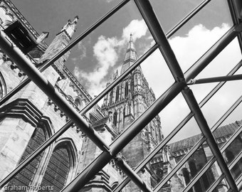 Salisbury Cathedral from the Refectory, Photograph, Print