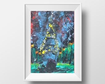 Original Painting: abstract palette knife painting of Paris and the Eiffel Tower at night