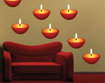 Candle Wall Decals, Massage Room Peel and Stick Candles Wall Decor Designs, Candle Wall Art Design, Candle Wall Graphic, Candle Art, d31