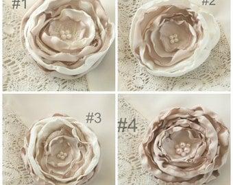 Cream & Light Brown Silk Flower Hair Clips