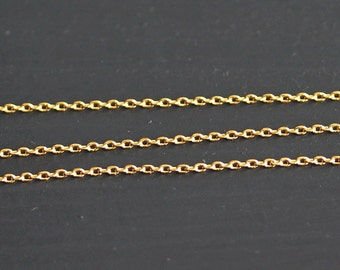 B5-44-G] Gold plated / 1.1 x 1.3mm / Cable Chain / 1 meter