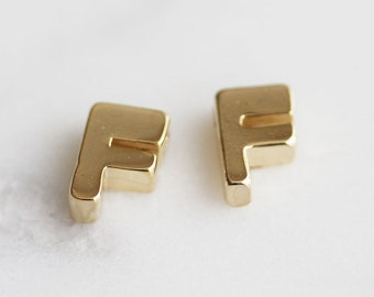 P0-204-G] Initial F / 5 x 7mm / Gold plated / Pendant / 2 pieces