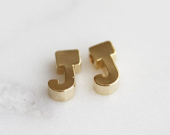 P0-204-G] Initial J / 5 x 7mm / Gold plated / Pendant / 2 pieces