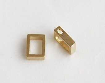 P1-505-G] Rectangle / 6 x 8mm / Gold plated / Pendant / 2 piece(s)