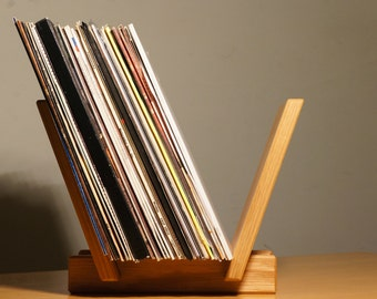 Solid Oak Wood LP Record Stand. 40 Record Capacity. Hand Made in West Yorkshire.