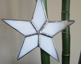 Stained Glass Star White Star Sun Catcher Ornament Tree Topper