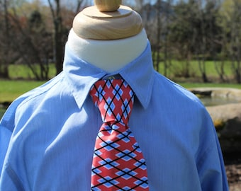Little Boy Neck Tie, Little Guy Tie, Infant/Toddler Neck Tie with Adjustable Velcro Neck Band in Coral and Blue Argyle