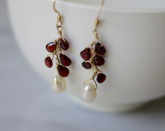 Red garnet and pearl drop earrings