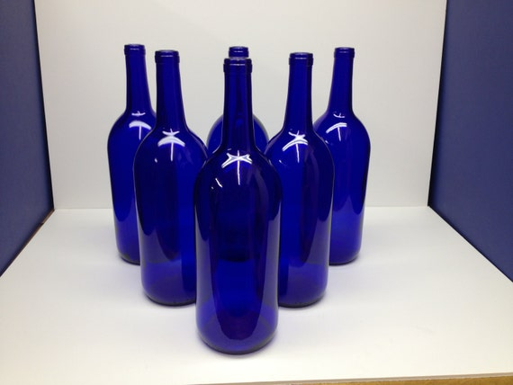 6 cobalt blue bottles 1 5 liter for crafting. Black Bedroom Furniture Sets. Home Design Ideas