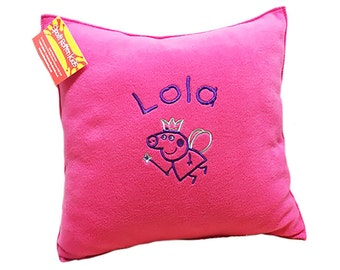 Gorgeous Handmade Super Soft Fleece Peppa Pig Cuddle Cushion Embroidered With A Name Of Your Choice