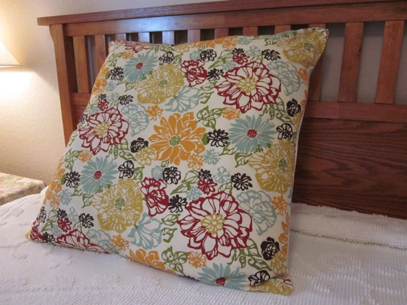 Extra Large Floral Pillow Cover 26x26 Throw by BestBetDesign