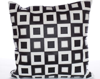 SALE 20%, Decorative leather pillow cover 16x16 inch, Patchwork pillow cover, Black and white, FREE SHIPPING