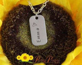 Mini Name Tags - Stamped Name Tag Necklace - Custom Name Jewelry - Stainless Steel Jewelry Tag  - Custom Made Necklace - Heart Necklace
