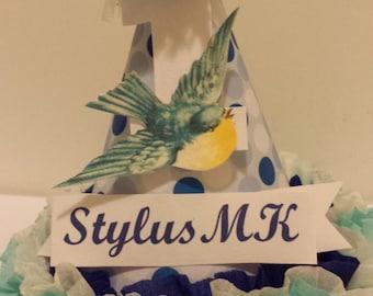 1st Birthday Girl Blue Bird Party Hat