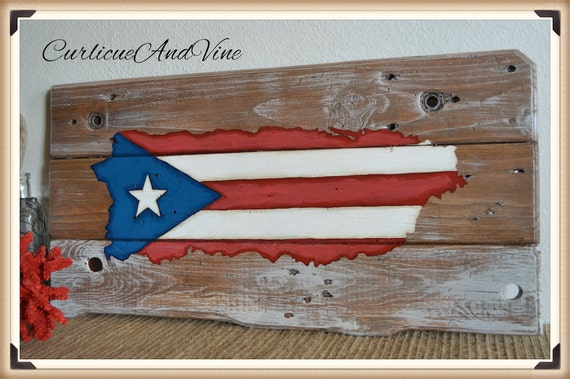 Puerto Rico Pallet Wood Sign-Pallet Board-Rustic Barnwood Decor-Man Cave-Flags-Shabby-Reclaimed Wood-Hand Painte