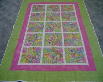 Handmade Colorful Bright Lights Quilt