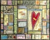 "Whimsical Mosaic Art, Mixed Media Art, Folk Art, Choose: Card, Magnet, Bookmark, Postcard, Notebook, Print or Mounted Print ""Heart Mosaic"""